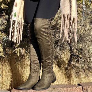 Vegan Olive Suede Over The Knee Boots -Side Laces
